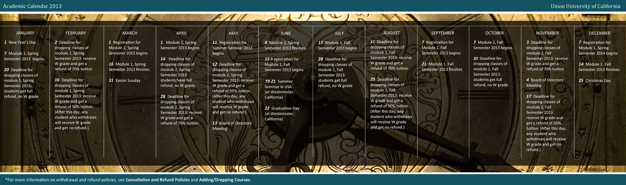 Academic and Administrative Calendar 2013